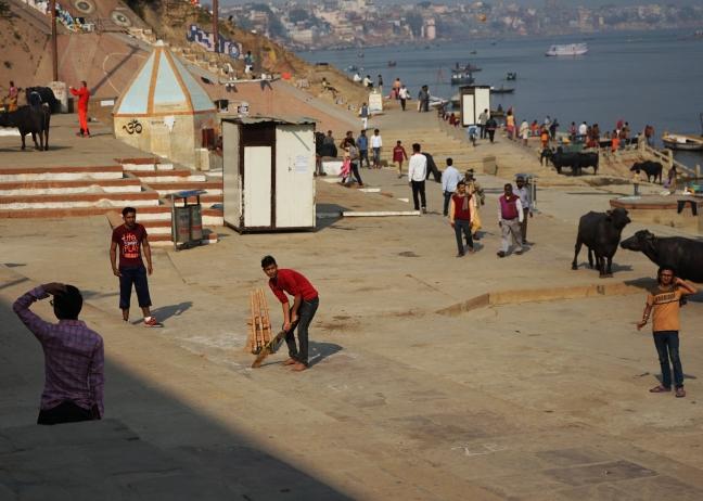 Cricket on the Varanasi ghats